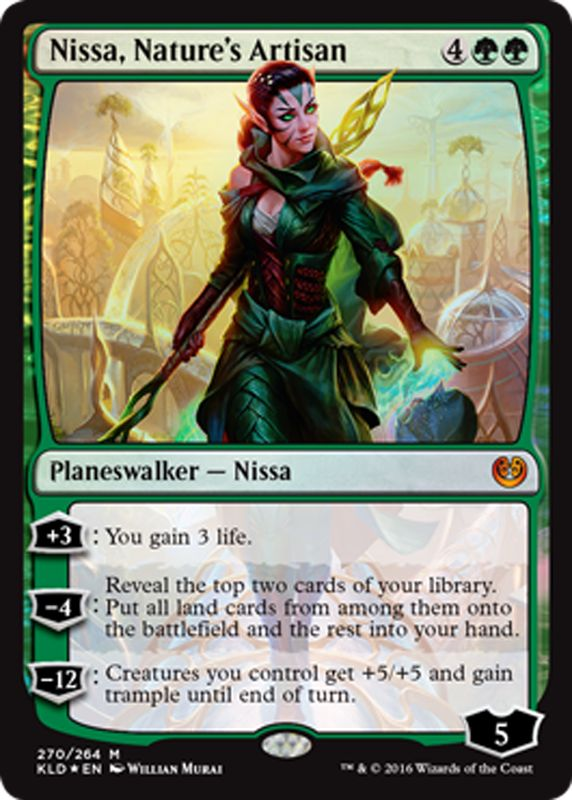 #MagictheGathering Nissa, Nature's Artisan green planeswalker Magic the Gathering card