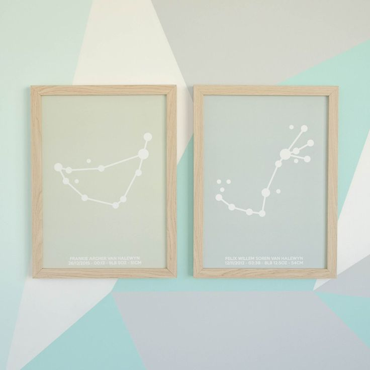 A minimalist style birth poster that features a beautiful, simple version of your child's zodiac constellation with their details in a crisp sans serif font.