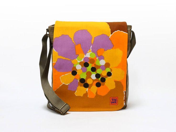 Vicky - Upcycled Canvas Crossbody Bag, Messenger Bag, 70s Bag, Orange Shoulder Bag, Vintage Fabric Bag by EllaOsix by EllaOsix on Etsy