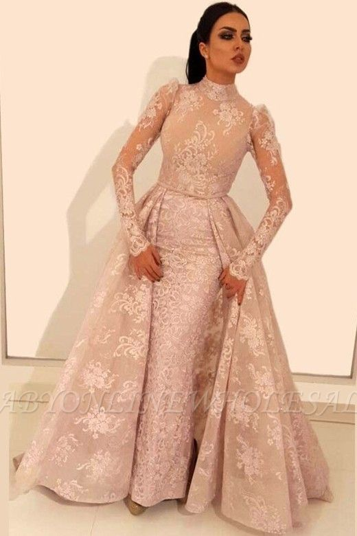 83b1c8b5f34b4 Vintage A-Line Lace Prom Dresses | High Neck Long Sleeves Detachable Skirt  Evening Dresses | www.babyonlinewholesale.com