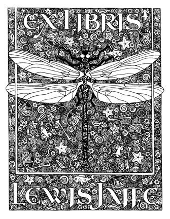 Ex Libris 'Dragonfly' bookplate for Lewis Jaffe by Daniel Mitsui