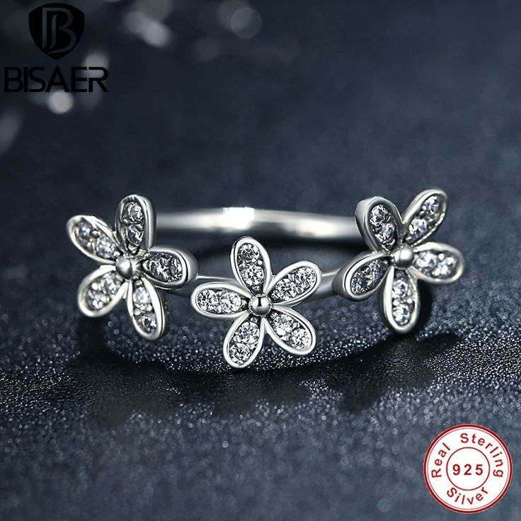 Authentic 925 Sterling Silver Dazzling Daisies Stackable Rings for Women Flower Compatible with Sterling Silver Fine Jewelry