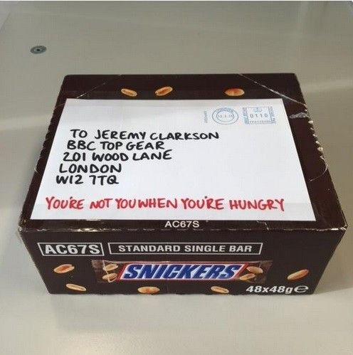 http://www.thedrum.com/news/2015/03/13/jeremy-clarkson-consoled-free-snickers-bars-pr-stunt    Embattled Top Gear presenter Jeremy Clarkson can find some solace from his present travails courtesy of a supply of free Snickers bars courtesy of the confectioner, in an extension of its 'You're not you when you're hungry' campaign.