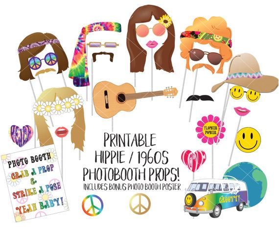 Hippie 1960s Photo Booth Props Sixties Printable Photobooth