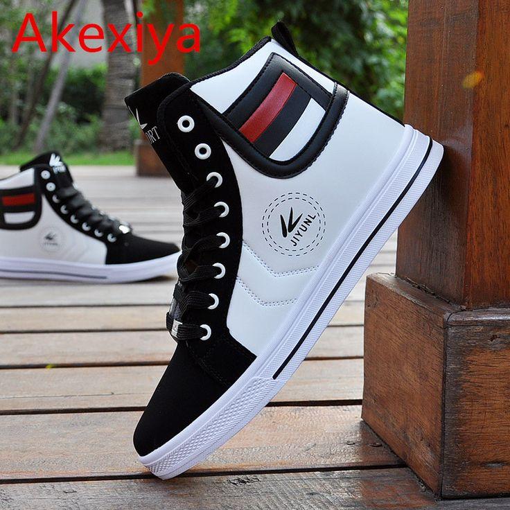 Akexiya New 2017 Autumn Winter Shoes For Men Casual Shoes Canvas Fashion High Top Men Footwear Mixed Colors PU Flat Men Shoes