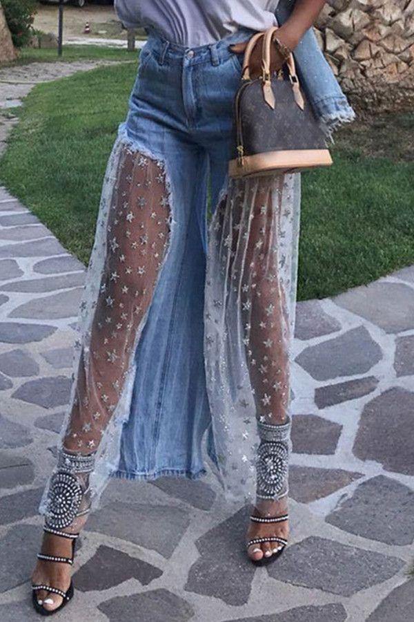Patchwork Star Wide Legs High Waist Women S Jeans High Waist