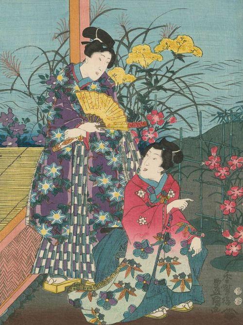 Genji-e . Ukiyo-e woodblock print. Mid 1800's, Japan, by artist Utagawa Kunisada I