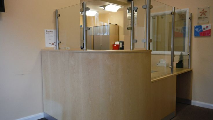School Reception Desk Security Screens Curved And