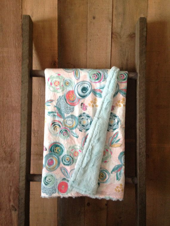Floral Print Blanket with Coordinating Minky