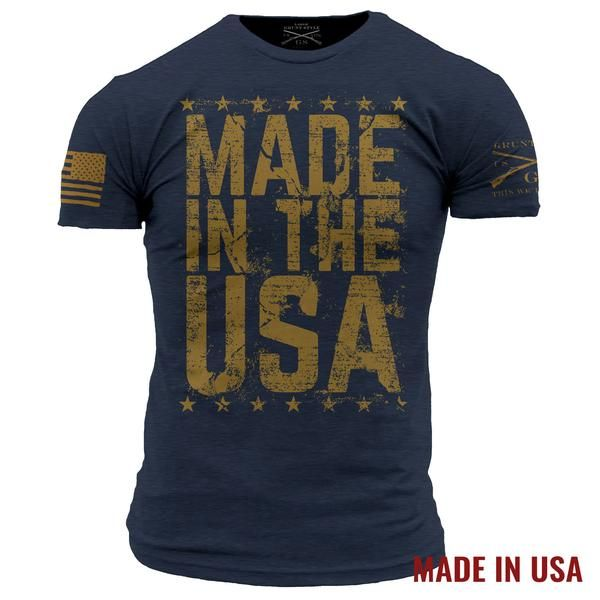 SOME SIZES MAY BE BACKORDERED ALL SIZES ESTIMATED TO BE BACK IN STOCK BY 4/21  100% MADE IN THE USA!!!!   There is a reason this country is great and remains great.  That is due to the dedication of the men and women who have  been defending this great country  Grunt Style's Made in the USA shirt is an ultra-comfortable  and soft men's navy shirt that is made out of 100% cotton.