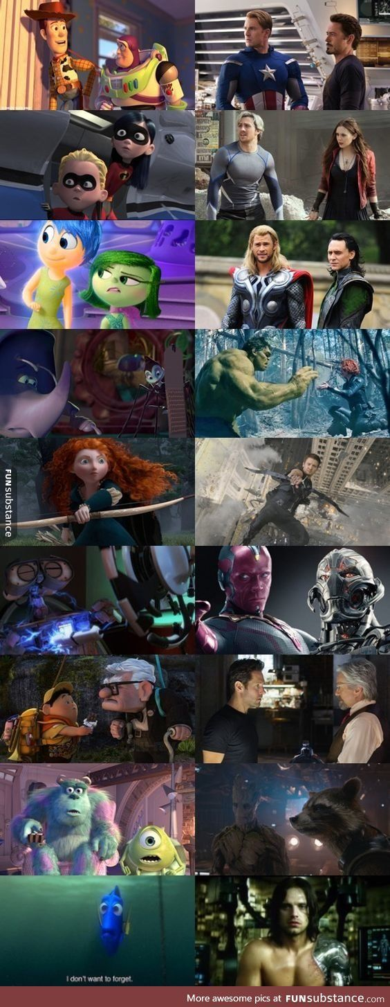 Disney/Pixar and Marvel Parallels