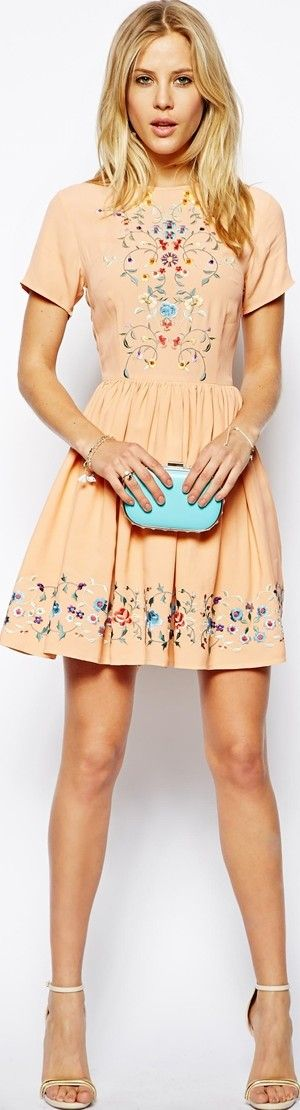 #peach #folk #dress - article about orange fashions for summer and fall