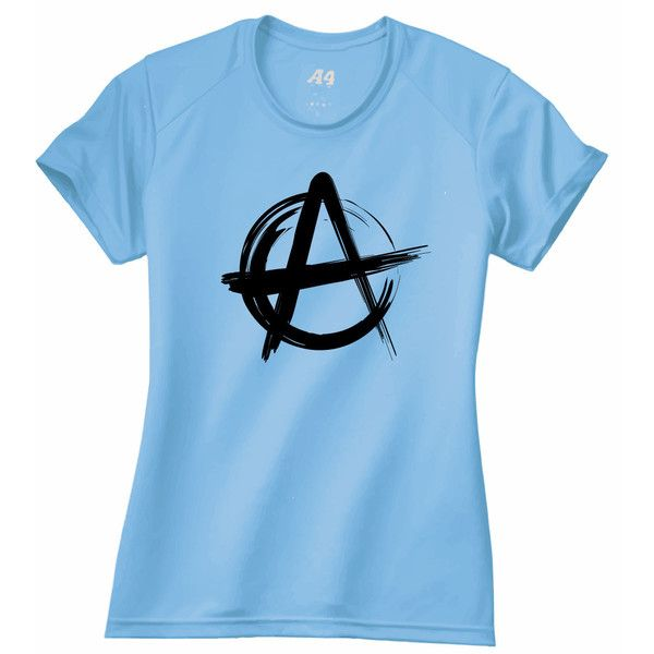 v077 Anarchy Symbol Women's Performance Workout Shirt nw3201 ($15) ❤ liked on Polyvore featuring activewear, red, t-shirts, tops, women's clothing, multi color shirt, wicking shirt, blue shirt, moisture wicking shirts and multicolor shirt