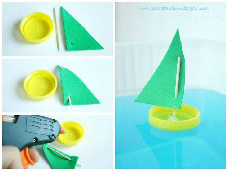 łódki z nakrętek po butelkach - zabawka z recyklingu dla dzieci