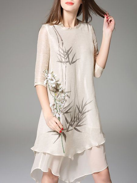 Half Sleeve Silk Casual Crew Neck Midi Dress