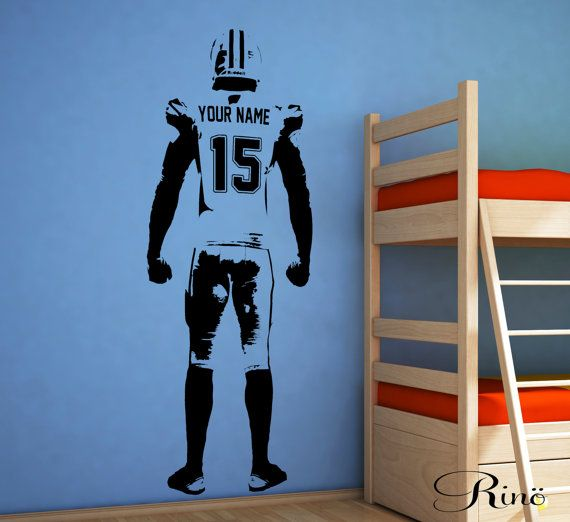 American Football Wall art Decal Custom Large Player choose jersey name and number Vinyl wall Decal sticker decor kids bedroom sports bar