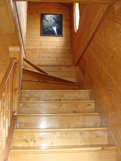 Tongue And Groove Walls With Wood Stairs In This Winton, MN Home. Premier  Northeastern