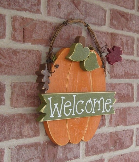 WELCOME PUMPKIN With Autumn leaves for Fall, wall and door hanging decor on Etsy, $26.95