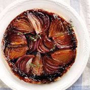 Onion Tarte Tatin Veganize with Earth Balance and brown rice syrup?