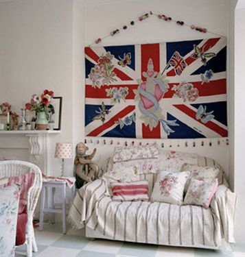 What a sweetly lovely room! #Union_Jack #flag #UK #British #Britain #jubilee