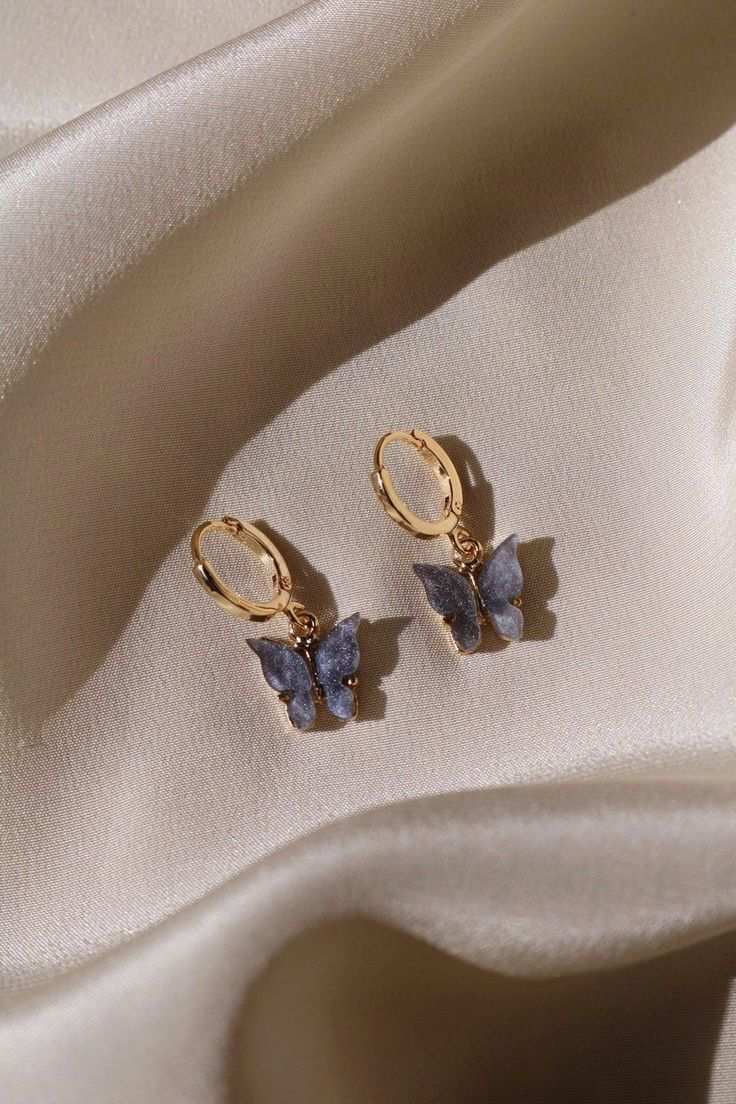 Midnight Butterfly Earrings Gold-Plated Butterfly …
