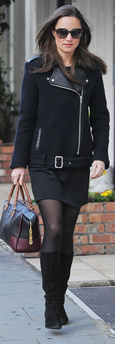 Who made  Pippa Middleton's black jacket, black sunglasses, and and two tone handbag?