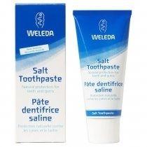 Pasta de dinti cu sare Weleda 75 ml. Această pastă de dinţi previne apariţia cariilor datorită unor particule abrazive solubile din carbonat de sodiu (sare), care neutralizează acizii dăunători, împiedicând astfel formarea plăcii de tartru.