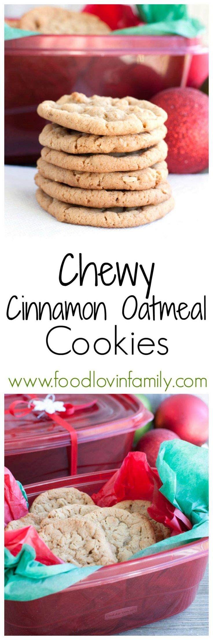Chewy Cinnamon Oatmeal Cookies are delightfully chewy with a hint of cinnamon. Easy to make and a great base cookie. Make some for friends and family! #ad #ShareTheHoliday @Walmart | http://www.foodlovinfamily.com/chewy-cinnamon-oatmeal-cookies/