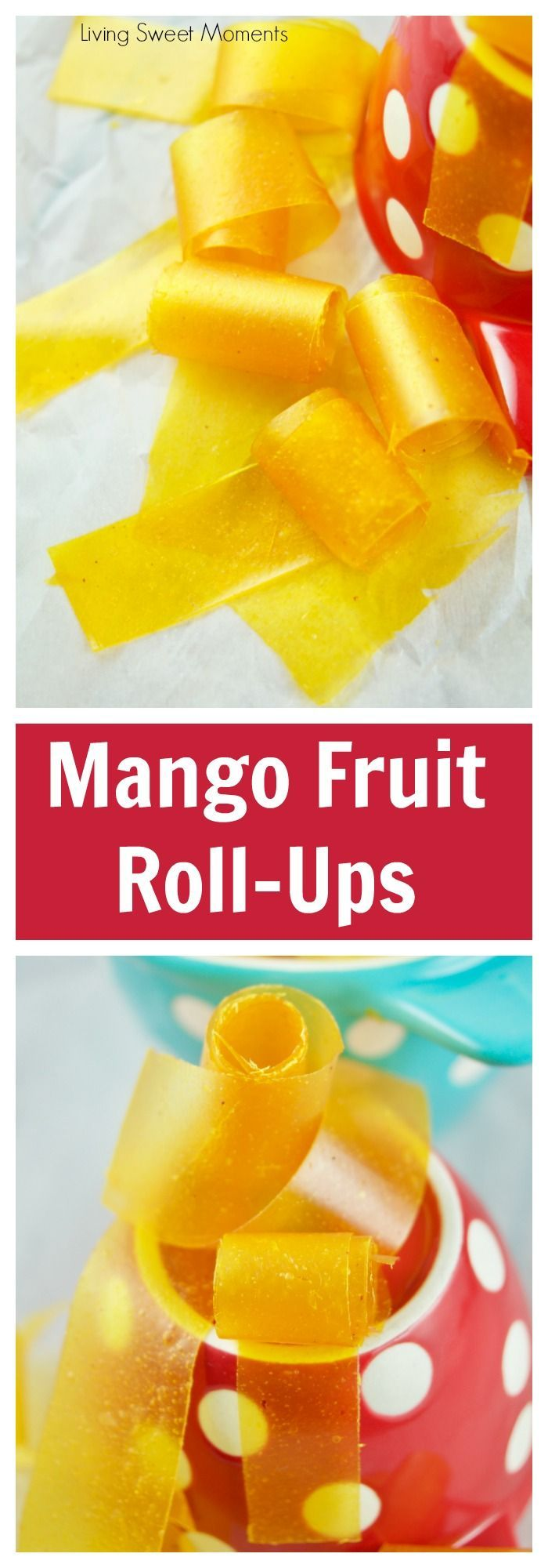 This amazing Mango Fruit Roll Ups recipe requires only 1 ingredient and is the perfect kid friendly healthy snack for the lunchbox. Vegan and Gluten Free. More healthy lunchbox and back to school recipes at livingsweetmoments.com  via @Livingsmoments