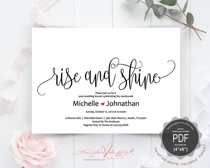 209 best wedding invitation images on pinterest post wedding newlywed brunch invitation card pdf editable template rise and shine instant download stopboris