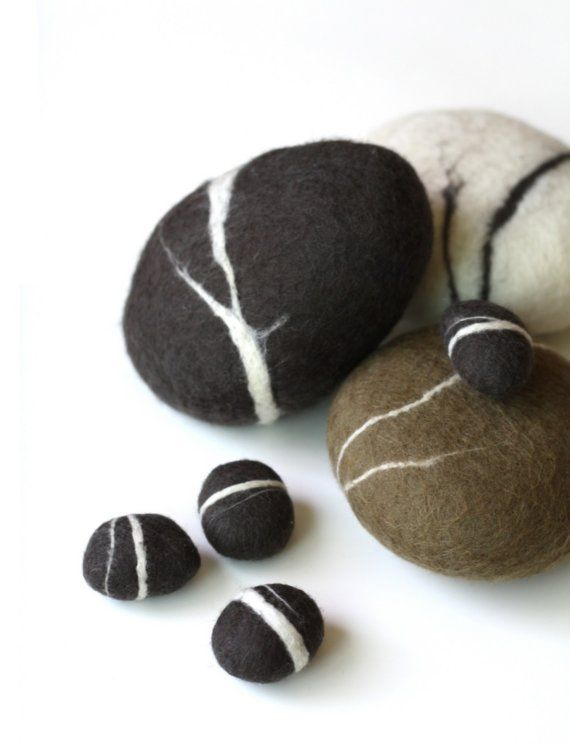 felted rocks - just a little white :)