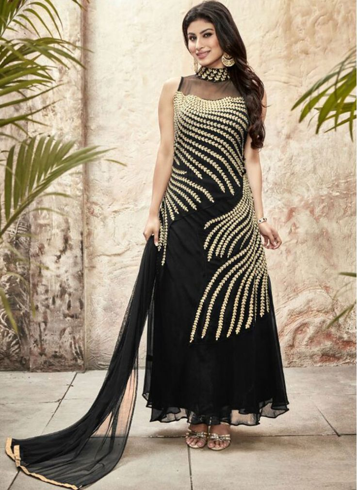 Festival Black Faux Georgette Ankle Length Anarkali Salwar Suit