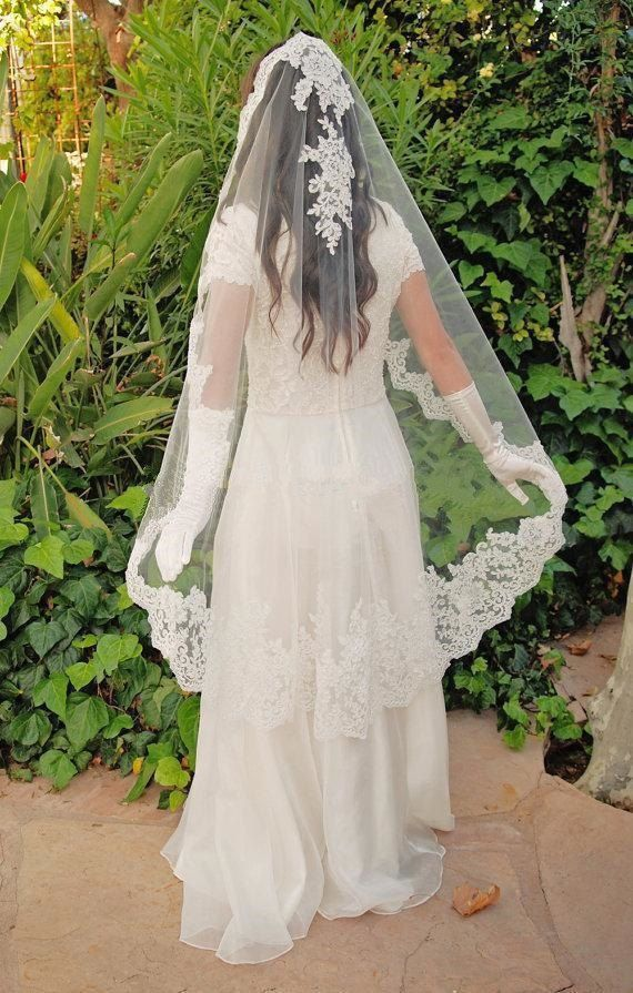 Bridal Wedding Soft Mantilla Spanish Tulle Veil 1 Tier 1.5M White/Ivory Lace Edge With Comb