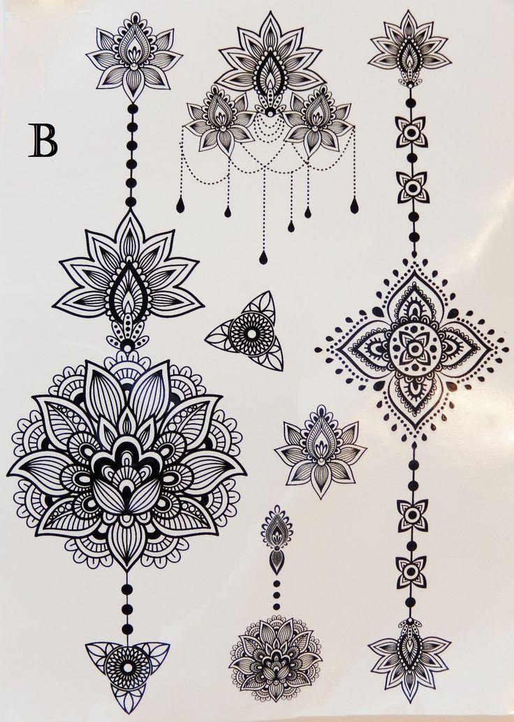 Metallic or Black Henna Temporary Flash Tattoos