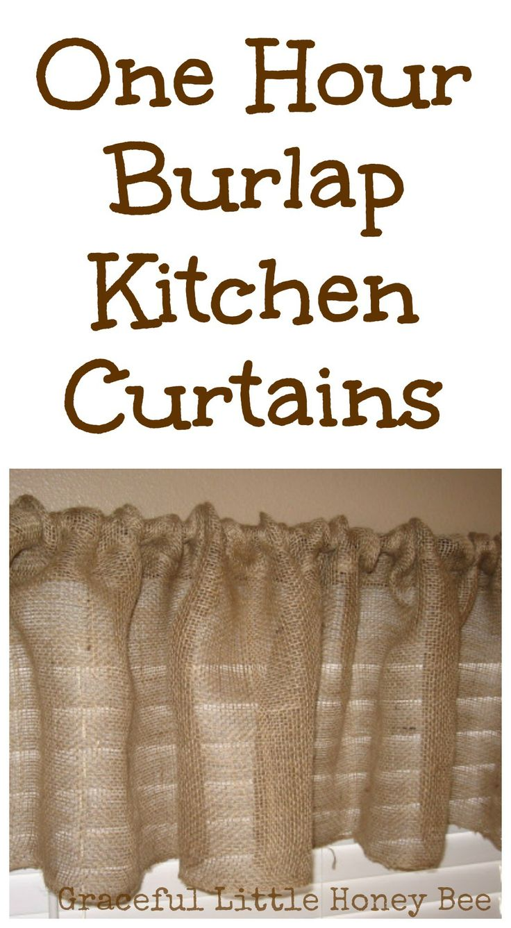 Rustic burlap window treatments - One Hour Burlap Kitchen Curtain Tutorial