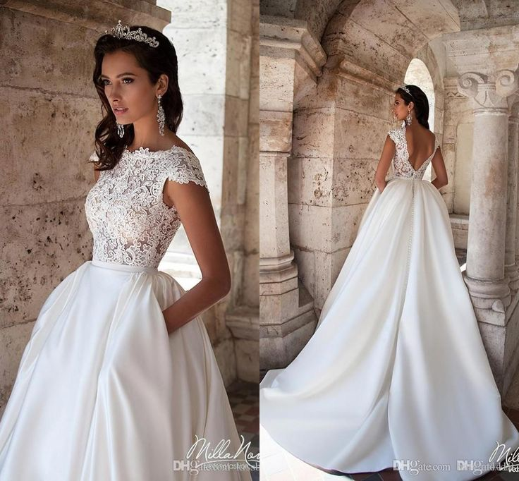 Vintage A Line Wedding Dresses 2017 New Jewel Neck Cap Sleeves Lace Appliques Sweep Train Satin With Pocket Plus Size Backless Bridal Dress Simple Wedding Gowns Uk Wedding Dresses From Haiyan4419, $139.7| Dhgate.Com