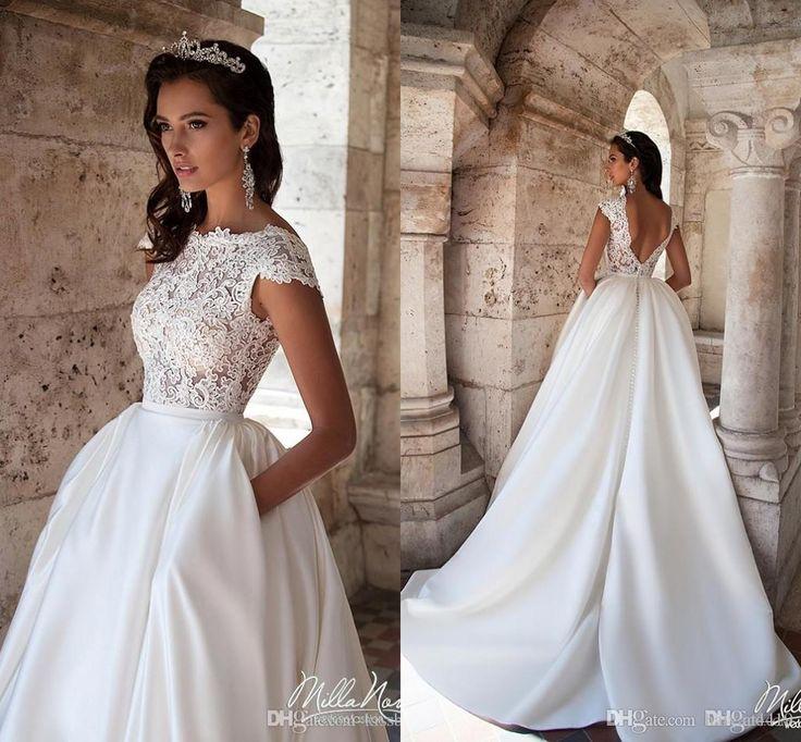 Vintage A Line Wedding Dresses 2017 New Jewel Neck Cap Sleeves Lace Appliques Sw... 11