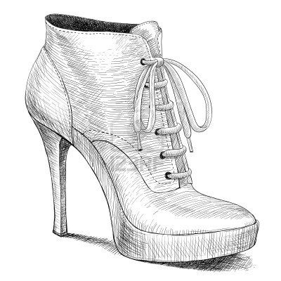vector drawing of woman fashion high heel shoes boots in ink engraving