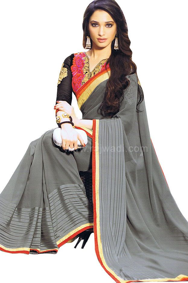 Beautiful Grey Chiffon Saree