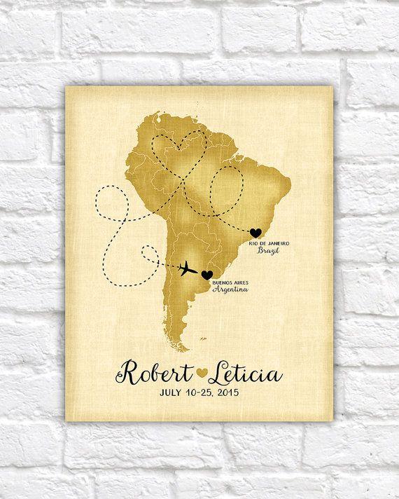 Custom Travel Map, South America, Brazil, Argentina, Peru, Uruguay - Honeymoon, Destination Wedding, Trip Route, Spanish, Rio de Janeiro