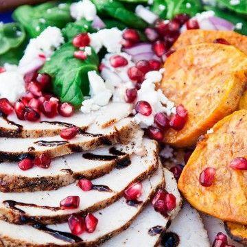 Benfri kotlett med sötpotatis, fetaost och granatäpple - Recept - Tasteline.com