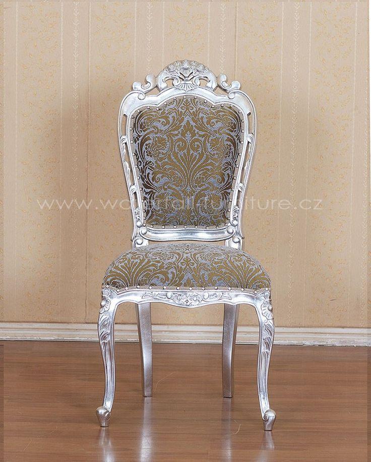 Retro židle - stříbrná zámecká židle