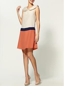 peter pan color block mini dress