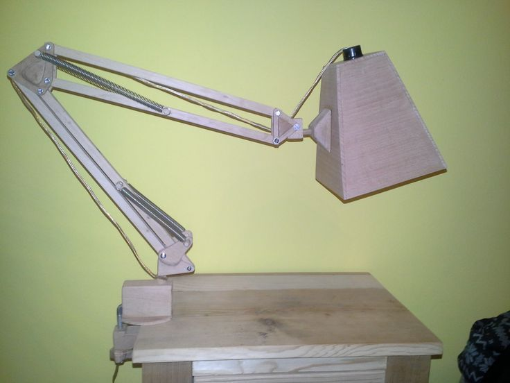 Wooden anglepoise desk lamp
