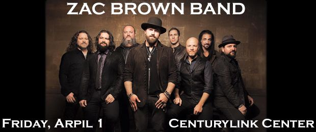 Life is good today! Life is good today! The ZAC BROWN BAND is coming to the CenturyLink Center in Omaha on Friday, April 1st at 7:00 p.m. Order your tickets RIGHT NOW at TicketExpress.com and you'll be going to ZBB's JEKYLL & HYDE TOUR in person. No special credit cards or codes needed! Your Tickets to see the ZAC BROWN BAND are waiting for you right now at TicketExpress.com. See ya at the show!
