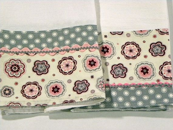 Grey Polka Dot Tea Towel Flour Sack Towel Set by RegansSweatShoppe