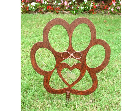 Dog Paw Pet Memorial Garden Stake   Metal Yard Art   Metal Garden Art    Rusty