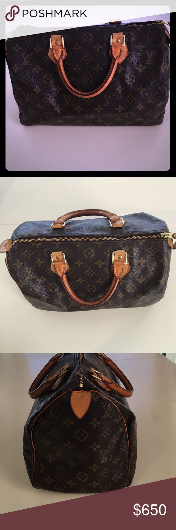 Louis Vuitton Speedy 30 Excellent Used Condition.  Natural deepening of color on leather handles.  Has been stored without use for 6 years and prior to that not used often.  1 scratch on bottom of bag, not noticeable bc of location.  Ready for someone else to love 💕😊Measurements:  11.8 (length) x 8.3 (height) x 6.7 (width) NO DUST BAG Louis Vuitton Bags Satchels