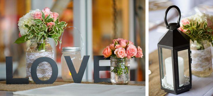 SPARKLE - Lantern centrepiece with fresh floral arrangements in lace wrapped mason jars