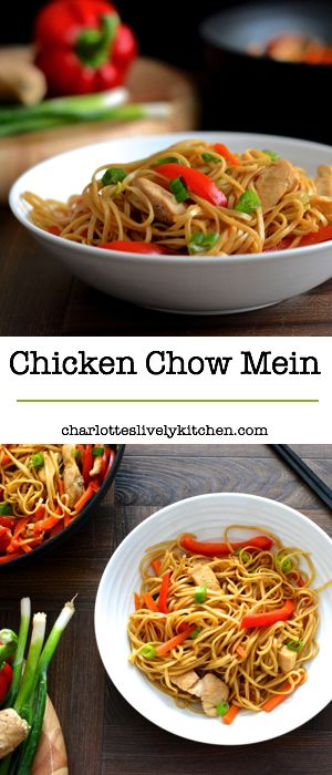 In need of a quick, healthy evening meal? This chicken chow mein recipe is ready in under 25 minutes and is below 400 calories per serving. It also has just under two of your five-a-day fruit and vegetables, so it's packed full of goodness.